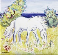 cheval en camargue by yves brayer
