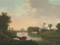 cattle by a lake, with ruins beyond by edmund garvey