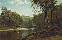 a summer's afternoon on the wharfe, bolton woods by j.l. adams