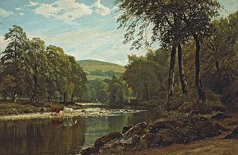 a summers afternoon on the wharfe bolton woods by jl adams