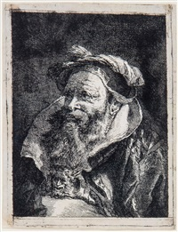 bearded man with high collar looking up to left by giovanni domenico tiepolo