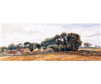 open norfolk landscape with hayricks and cottages in distance by arthur james stark