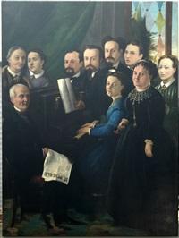 il pungolo. scena d'interno con personaggi by de giacomi