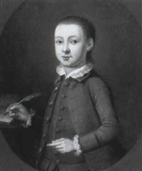 portrait of a young boy, half length, holding a quill in his right hand by john lewis