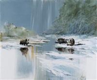 sangliers dans la neige by patrice bac