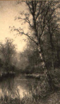 winter river landscape with a silver birch in foreground by walter boodle
