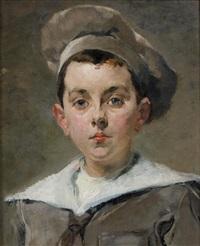 portrait de jeune garçon au béret by jean de la hoese