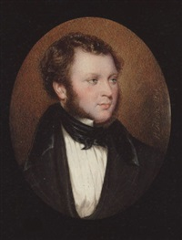 a gentleman with side whiskers, wearing black coat with velvet collar, white chemise with pleated front and tied black cravat by henry collen