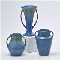 blue windsor pieces: two two-handled cabinet vases and one two-handled trumpet vase (3 works) by roseville
