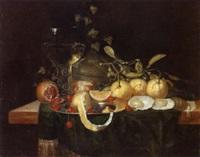 stilleben mit orangen, kirschen, granatapfel und einem gefüllten weinglas by jan jansz heem the younger