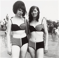 two girls in matching bathing suits, coney island, n.y by diane arbus