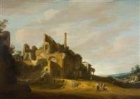 südliche landschaft mit ruine by pieter anthonisz van groenewegen