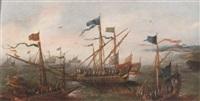 spanish galleys off a mediterranean coastline by caspar van eyck