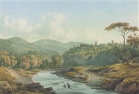 tivoli, near rome, with a woman and boy fording the river aniene by john warwick smith