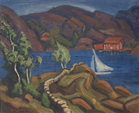 modernist lakeside landscape with sailboats and homes by carl olof eric lindin