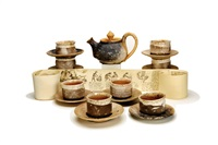 raku tea service (set of 8) by paul soldner