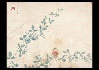 a bird on the bush clover by kayo yamaguchi