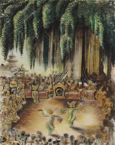 legong performance under banyan tree by miguel covarrubias