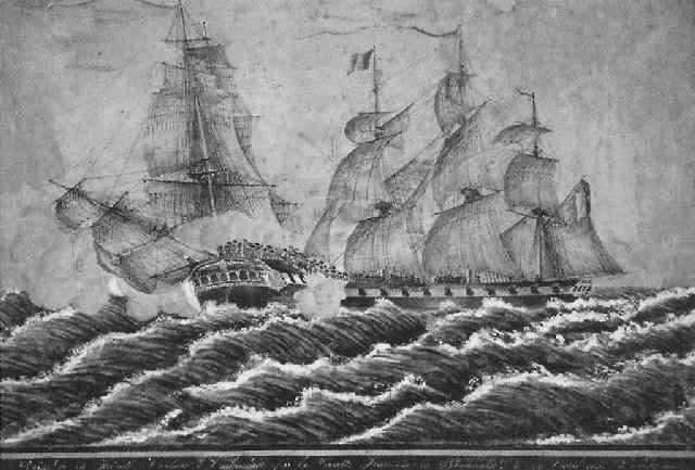 prise de la frégate anglaise embuscade par la corvette française la boyonnaise le 12 avril 1818 by etienne ardisson