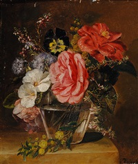 flowers in glass vase on a plinth by elselina agenita cornelia röder