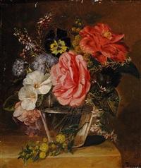 flowers in glass vase on a plinth by elselina agenita cornelia röder