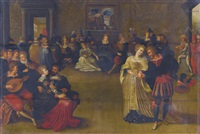 a merry company music-making and dancing in an interior by frans francken the younger