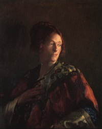 red & gold (portrait of miss pearson) by joseph de camp