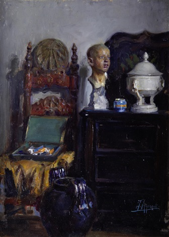in the artists studio by joaquín agrasot y juan
