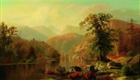 fishing in a river valley by henry w. kemper