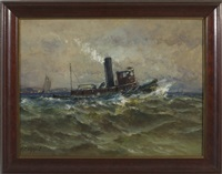 tugboat leaving a harbor by charles p. appel