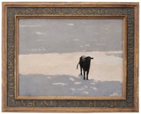 lots for sale, cow in winter landscape by terry delapp