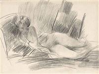 femme nue allongée (recto); femme assise vue de côté (verso) by giovanni boldini