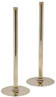 pair of brass solifleur vases by josef hoffmann