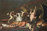 a tabletop with a spaniel, a hanging chicken, a dish with herring, a pommegranate and a peeled lemon on a salver, aroemer, bread and a jug, copper pot and a brazier by elias vonck
