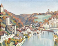 vue de fribourg avec le pont st-jean by louis joseph vonlanthen