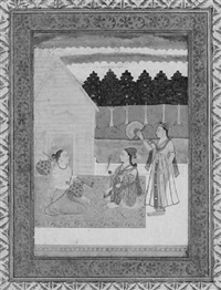 an ascetic playing a vina visited by a female devotee by kedar ragini