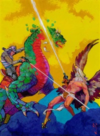 eagleman and knight on dinosaur in pitched laser battle by j. allen st. john