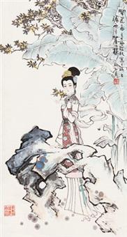 仕女 立轴 设色纸本 by gu bingxin