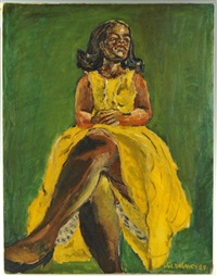 woman in yellow dress by joseph delaney