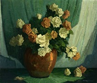 white and coral roses in copper vase by frederic m. grant
