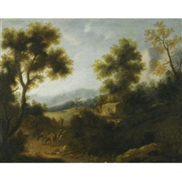 a wooded landscape with a herdsman and woman on a path in the foreground by ignacio de iriarte