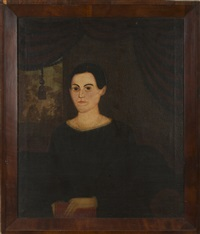portrait of a young woman seated before crimson swagged and trasseled drapery by sheldon peck