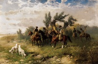 lovascsapat (group of horsemen) by hans (johann) haag