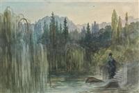 femme au bord d'un lac by gustave doré