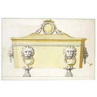 design for a sarcophagus shaped casket with lions mask handles, the cover surmounted by the coat of arms of a cardinal by luigi valadier