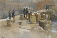 packing fish in polperro by r. s. rogers
