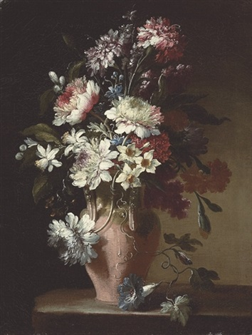 daffodils carnations peonies and other flowers in a terracotta urn on a stone ledge by jean baptiste gayot dubuisson