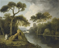 a river landscape with monks conversing by a pair of megaliths, ruins beyond by william hodges