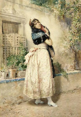 a lady in spanish dress by manuel wssel de guimbarda