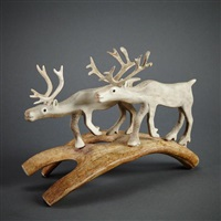 two caribou by peter assivaaryuk